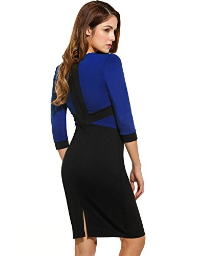 ANGVNS Damen Packet Hüfte Kleid Rundhals Business Kleid Knielang Etuikleid mit Flickwerk -