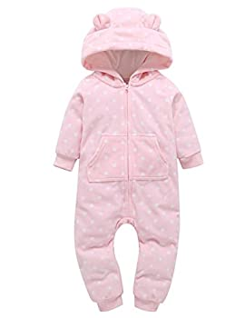 Weant Baby Boy Girl Clothes Newborn Winter Outfits Onesie Thicker Skull Hooded Romper Jumpsuit Home Clothes (0-6 Months, Pink) 0