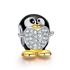 NINAQUEEN® Charms/Pinguin/ 925 Silber, Emaille, mit Geschenkbox, Beste Wahl zum Muttertag Mutter, Mamas Schmuck~Antibakterielle Eigenschaften