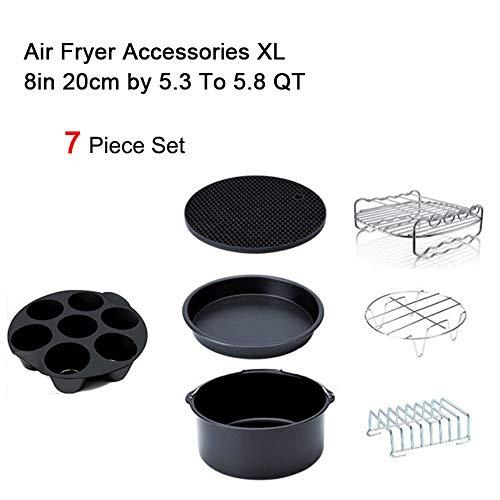 GRASSAIR Zubehör für Luftfritteusen 8 Zoll für Gowise/Phillips/Cozyna/Secura, 7er-Set, Alle AirFryer 5.3QT auf 5,8 QT einstellen