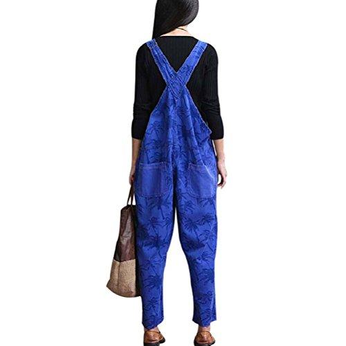 Aeneontrue Damen Hosentrager Spielanzug Harem Breites Bein Jumpsuit Hosen Blumenmuster Latzhosen Jeans mit Taschen Blau