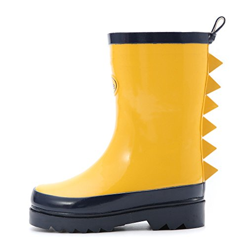 Outee Kids Boys Wellies Rain Boots Waterproof Rubber Boots Wellingtons Yellow Dinosaur Cute For Toddler children