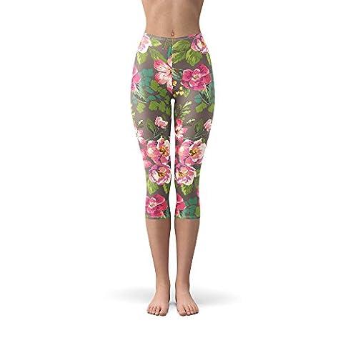 Tropical Vintage Florals Winter Leggings - Fleece, Capri 3/4 Length, Mid/High Waist