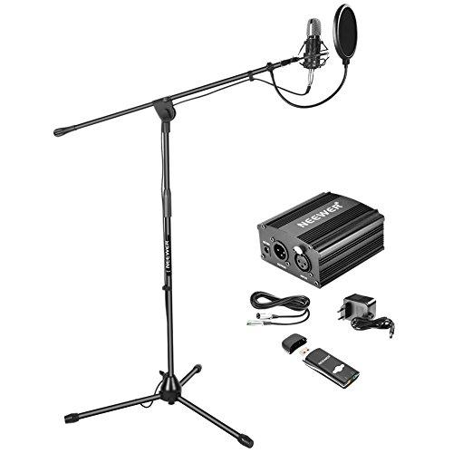 Neewer Microfono a Condensatore NW-700 Stand da Terra Alimentazione 48V Phantom Supporto Anti-vibrazione Filtro Pop & Scheda Audio USB per Registrazioni Sonore Trasmissioni a Casa in Studio Nero