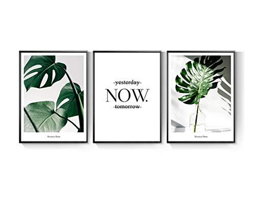 Wandkunst, grüne botanische Leinwand Wandgemälde Tropische gerahmte gestreckte Wand Kunstwerk für Wohnzimmer Dekor und Moderne Inneneinrichtungen 3PCS,50×70cm ()