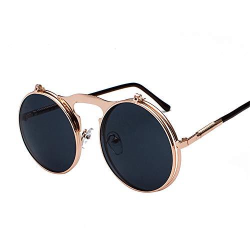 Retro Metal Steampunk Flip Sonnenbrillen Flip Sonnenbrillen Männer und Frauen Trendy Brillen Round Frame Prince SpiegelRose Gold Frame Grau C3
