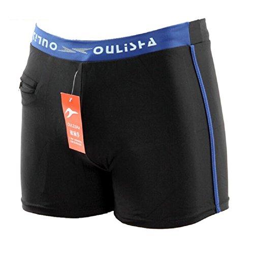LJ&L Herren-Schwimm-Shorts, Strandhose, mit Reißverschluss, weiche und bequeme atmungsaktive elastische Shorts Schwimmen Hosen, Wassersport-Notwendigkeiten E