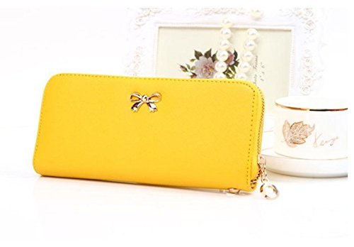 Hippolo Le donne coreane di Bowknot della borsa solida borsa Portafoglio Wearable giallo 4