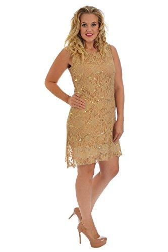 Neues Damen Übergrößen Kleid Frauen Spitze Pailette Tunika Flapper Womens Plus Size Party Sequin Lace Midi Dress Nouvelle Collection Gold