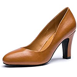 Neue Dame High Heels flachen Mund braun einzigen Schuhe pendeln Arbeit Schuhe ( Farbe : Braun , größe : 38 )