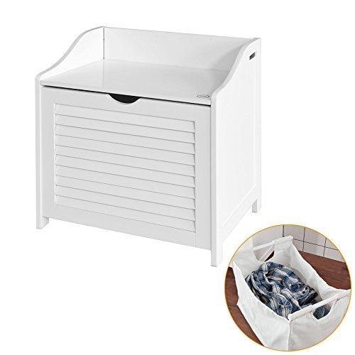 SoBuy® FSR40-W Wäschetruhe Wäschebank Wäschekorb in weiß Wäschesammler mit Deckel und herausnehmbarem Wäschesack, BHT ca: 50x53x35cm
