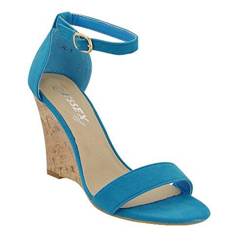 Azul Dedos Cinto De Sandálias De Cunha Essex Grilhão De Tiras Senhoras Camurça Salto Imitação Livremente Planalto Com De Glam avqpBw
