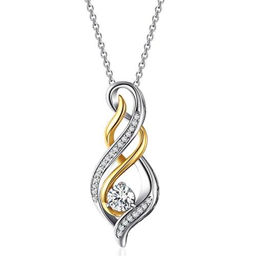 Caperci Collar para Mujer Plata de Ley Chapado en Oro Zirconia Cúbica Regalo Joyería para Mujer Regalo para Madre