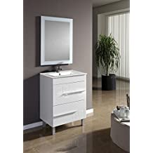 Modulintel - Conjunto De Baño Claudia 60 Cm - Mueble 60 Cm Blanco 2 Cajones, Espejo Sin Iluminación Y Lavabo Cerámica