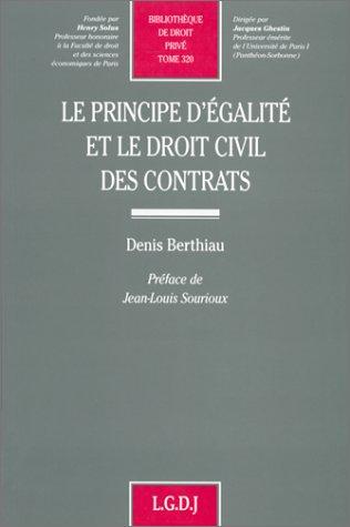 Le principe d'galit et le droit civil des contrats