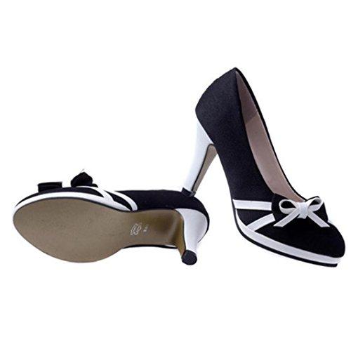 Longra 2018 Spring Fashion Women Pu Material Superior Bowkonot Decoración Punta Redonda Zapatos Planos Con Tacones Altos Negro