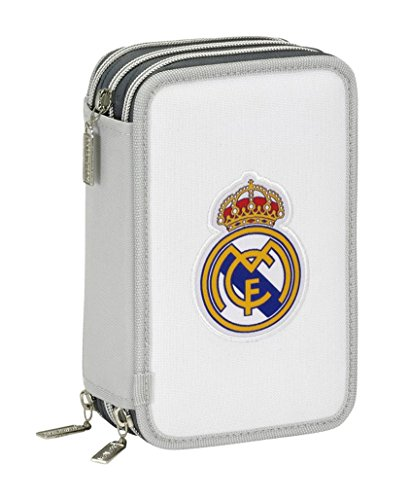 Real Madrid- Plumier Triple 41 Piezas (SAFTA 411624057), Color Gris (