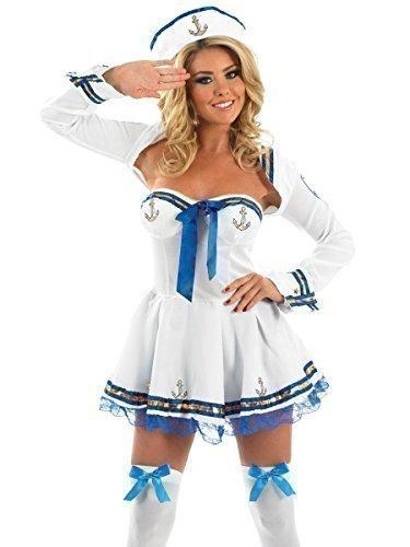 Matrose weiß-marine Militär Uniform Kostüm Kleid Outfit UK 8-30 Übergröße - Weiß, 12-14 (Matrosen Outfit Damen)