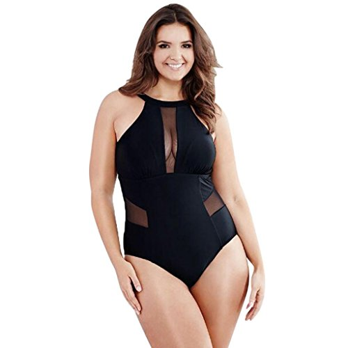 TWIFER Damen Badeanzug Große Größen Schwimmen Mesh Monokini Push Up Bikini (L-3XL)