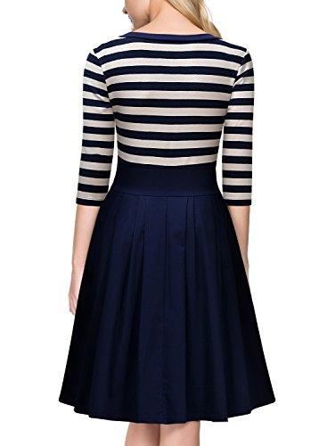Miusol Damen Vintage 1950er Streifen Rund Ausschnitt 3/4 Arm Retro Schwingen Pinup Rockabilly Kleid Navy Blau Gr.M -