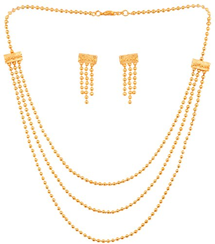 Touchstone Indian Bollywood Exclusive Saree Wear Golden Bead Graceful Necklace Set In...