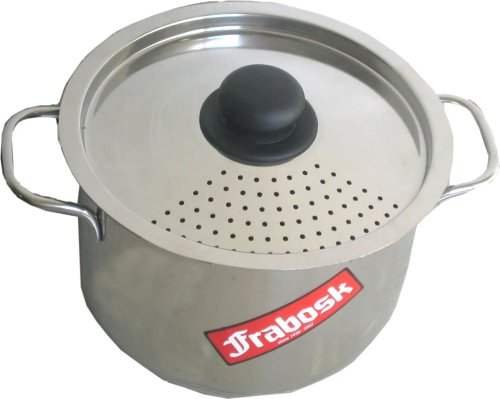 Frabosk Pasta Pot with Strainer Lid, Steel, 6.0 Litres, 22 cm Diameter