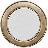 CRAFT ART INDIA-Vintage Style Home Decorative Round Wooden Vanity Wall Mirror Glass For Living Room/Bathroom / Bedroom {Size(Inch):1.18x23.23x23.23/3365 GR/CHD442}