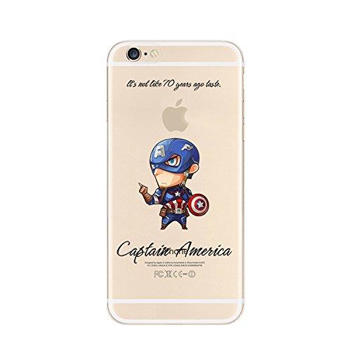 Ronney Super Héros Marvel & Cartoon Coque transparente en TPU souple pour Apple iPhone 5/5S/5C/5S CAPTAIN AMERICA1