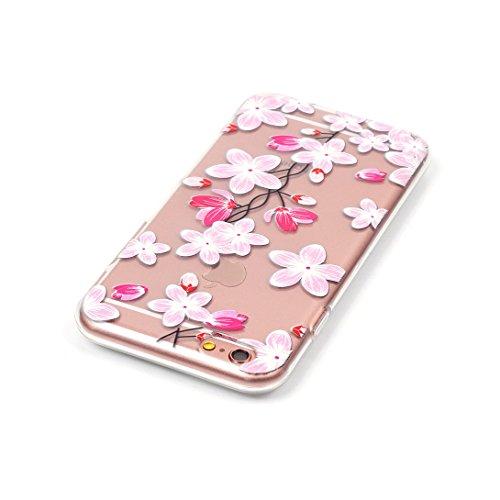 Pheant®[4 in 1] Apple iPhone 6S Plus/ 6 Plus (5.5 pouces) Coque Gel Étui Housse de Protection Transparent Cas avec Verre Trempé Protecteur d'écran Stylet Bouchon Anti-poussière(Orchidée Bleu) Fleur Rose
