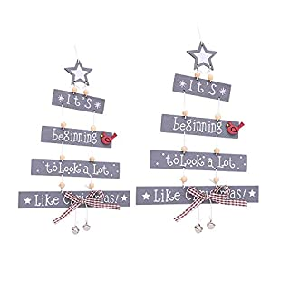 Christmas Tree Ornaments Wooden Hanging Snowflake Xmas Decorations, Wall Hanging Merry Christmas Pendant for Holidays Wooden Wall Door Decoration (2pc Grey)
