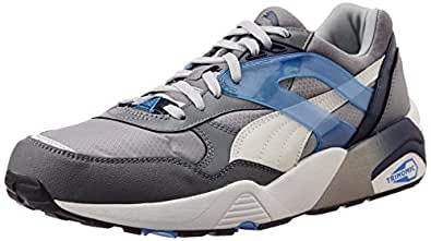 Puma Unisex R698 Mesh-Neoprene Glacier Gray, White and Drizzle Mesh Sneakers - 6 UK
