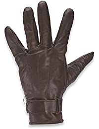 Quivano Mens Real Three Point Leather Gloves with Strap Cuff Gents Genuine # 338-200