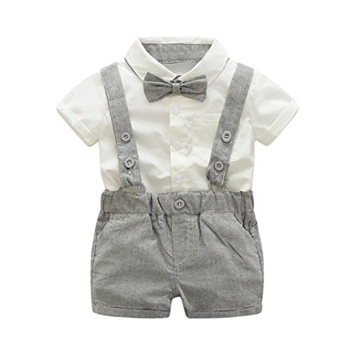 erthome Baby Kleidung, Baby Jungen Sommer Gentleman Bowtie Kurzarm Shirt + Hosenträger Shorts Outfit Set (Grau, 12-24 Monate)
