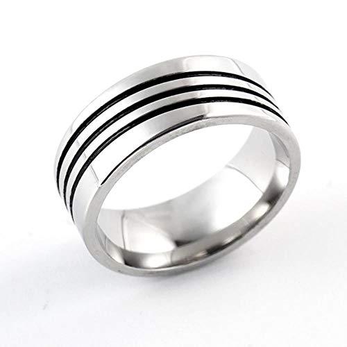 BSDN01 Ring 8mm gestreiftes Titan mit gebürsteten Trauringen Solider Modering Glänzender Edelstahlring Herren Valentinstag, 7