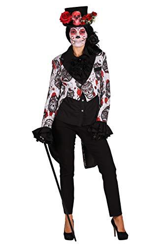 Muertos Dia Kostüm De Damen Los - Damenfrack Tag der Toten 1-Teilig gefüttert | Mexikanisches Halloween-Kostüm für Damen | Day of The Death Dia de los Muertos | Weiß XXL