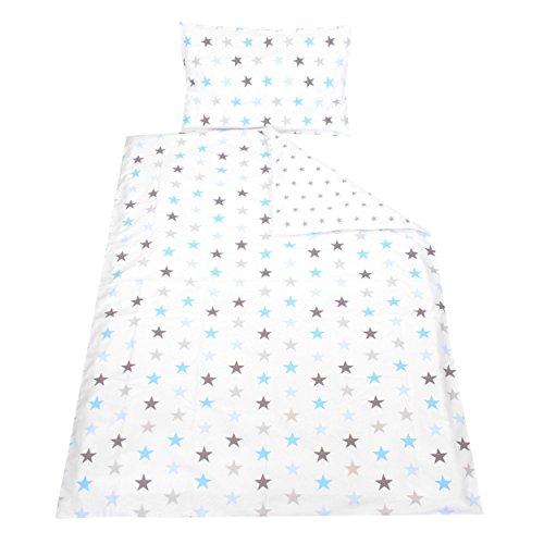 TupTam Kinder Bettwäsche Set Wendebettwäsche 100x135 2 tlg., Farbe: Sterne Grau/Blau, Größe: 135x100 cm
