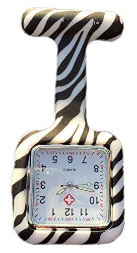 Boolavard TM Krankenschwesteruhr Schwesternuhr Pflegeruhr Silikon weiß rosa pink orange rot gelb hellblau blau dunkelblau grün lila schwarz (Square Zebra) Lila Zebra