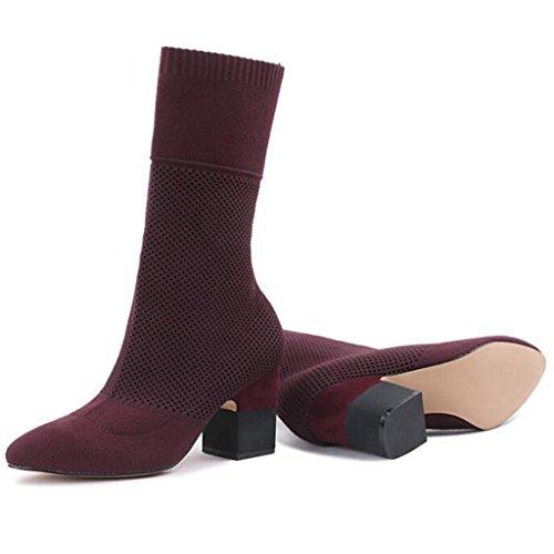Scarpe donna da calza Stivaletti Red da donna 34 al Stovepipe vitello a ginocchio RED stivali da maglia in ginnastica alti 39 Da ginnastica gli Stivali rxrXRT7n