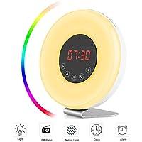 LED Wake Up Lichtwecker mit 7 Farbige Lichter - 6 Alarm Töne und 10 Helligkeitstufen, USB Touch Nachtlicht preisvergleich bei billige-tabletten.eu