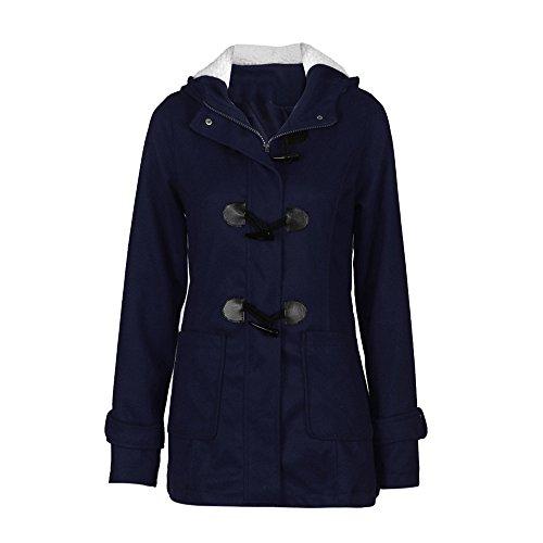 Hingpy Mode Damenbekleidung Windjacke Jacke warm Wolle schlank Langer Abschnitt Jacke Jacke Lange Ärmel dick groß Hornschnalle Kapuze Pullover