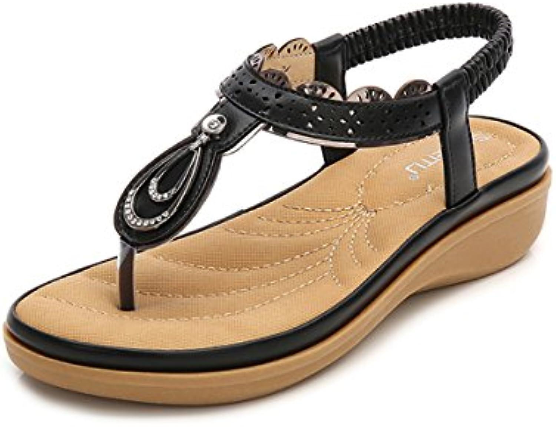 les sandales de plage gracosy bohème de chaussures pour pour pour femmes clip toe tong post strings faible croûton sandales wedge. b2a8f7