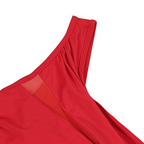 feelingirl costume da bagno Donna 1Piece Elegant dimagrante Bikini Sexy trasparente Rot