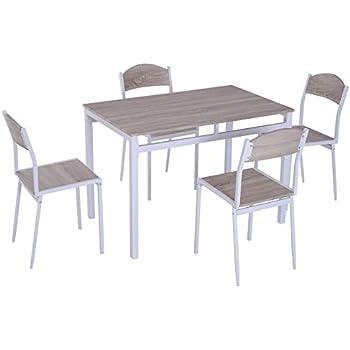 HOMCOM 5-teilige Essgruppe Sitzgruppe Esstisch Set Holzmaserung MDF Metall Grau 4 St/ühlen Wei/ß mit 1 Tisch