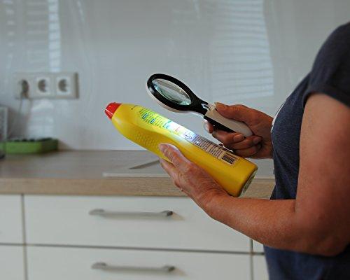 Profi Leselupe 6x Komplett-Set - Hochwertige LED Lupe mit Lese-Licht - 3x und 45x Vergrößerungsglas + Tasche inkl. Zubehör - für Senioren & zum Verschenken - 7