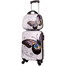 Maleta Cabina con Neceser y MP3 Mariposa Blanca, Maleta 55x35x20 cm y Neceser 35x28x14 cm
