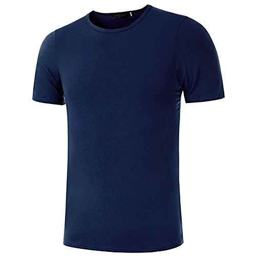 TININNA Herren Basic T-Shirt mit kurzen Ärmeln,Solid Color Short Sleeves Crew Neck Modal Classics T-Shirt Regular Fit fur Männer Herren (Schwarz,M) Navy Blau