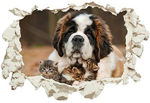 Unified Distribution Bernhardiner Hund Kätzchen kuscheln - Wandtattoo mit 3D Effekt, Aufkleber für Wände und Türen Größe: 92x61 cm, Stil: Durchbruch -