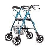 Walker Pieghevole A Quattro Ruote con Altezza Regolabile con Sedile Adatto per Il Carrello di Shopping per Anziani