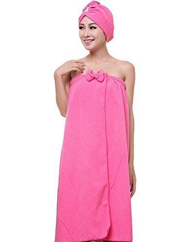 Women's Towel Wrap Hair Turban Set Soft Microfiber Wearable Spa Shower Bath Wrap Strapless Cover Up Bathing Towel Tube Dress Bathrobe
