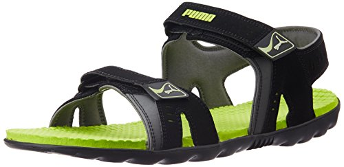 Puma Unisex Silicis Buck DP Black, Lime Punch and Steel Grey Rubber Sandals and Floaters - 9 UK